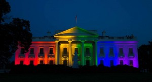 White house in rainbow